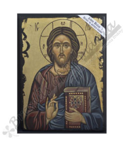 Jesus Pantocrator wooden painted icon