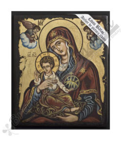 The Virgin Mary with Angels handmade Icon, on wood.
